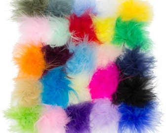Grab Bag Marabou Feather Puffs - BOA Feathers - Marabou Feathers - Set of 10, 25, 50, or 100 puffs - Grab Bag Assorted Colors - Wholesale