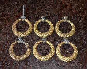 Antique Set of 6 French Ring Drawer Pulls Gilt Bronze Ormolu Furniture Hardware