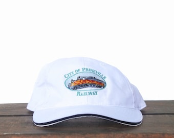 Vintage 90's City Of Prineville Railway Railroad Freight Train Strapback Hat Baseball Cap