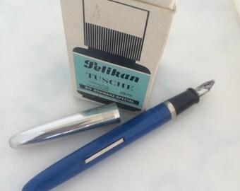 Fountain Pen Wearever Silver Tone Cap Filler Clip Stainless Nib USA Pelikan Drawing Ink Glass Bottle