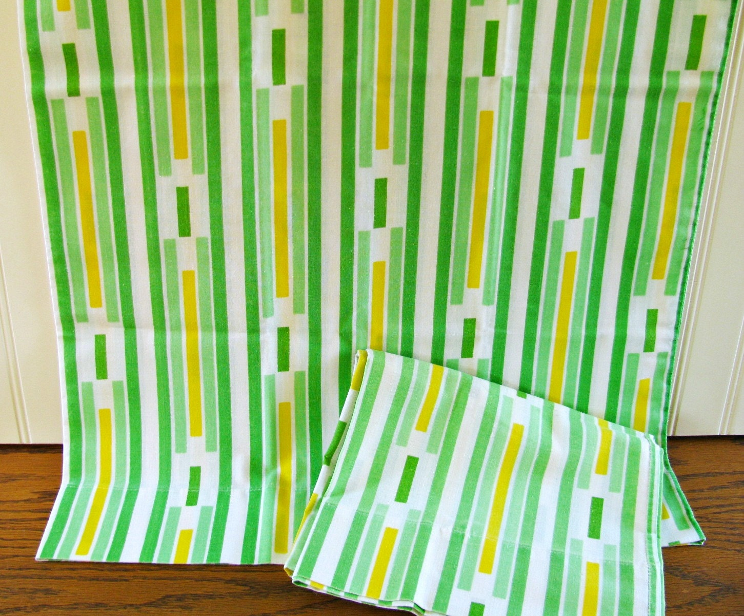 2 Vintage Striped Pillowcases Green Pillowcases Green And