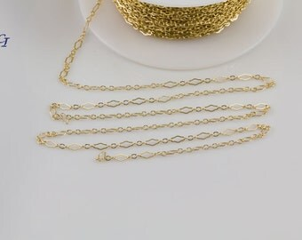 14K Gold Filled Diamond Shape Chain, Bulk Chain by Foot, Jewelry Findings, Chain Supplies, Gold Filled Bulk Chain by Spool, SCNF118