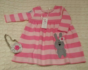 Bunny stripe baby dress 0-3mths and 3-6mths