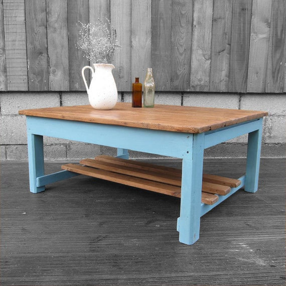 Rustic Antique Pine Coffee Table Blue Painted
