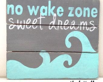 No wake zone wood sign