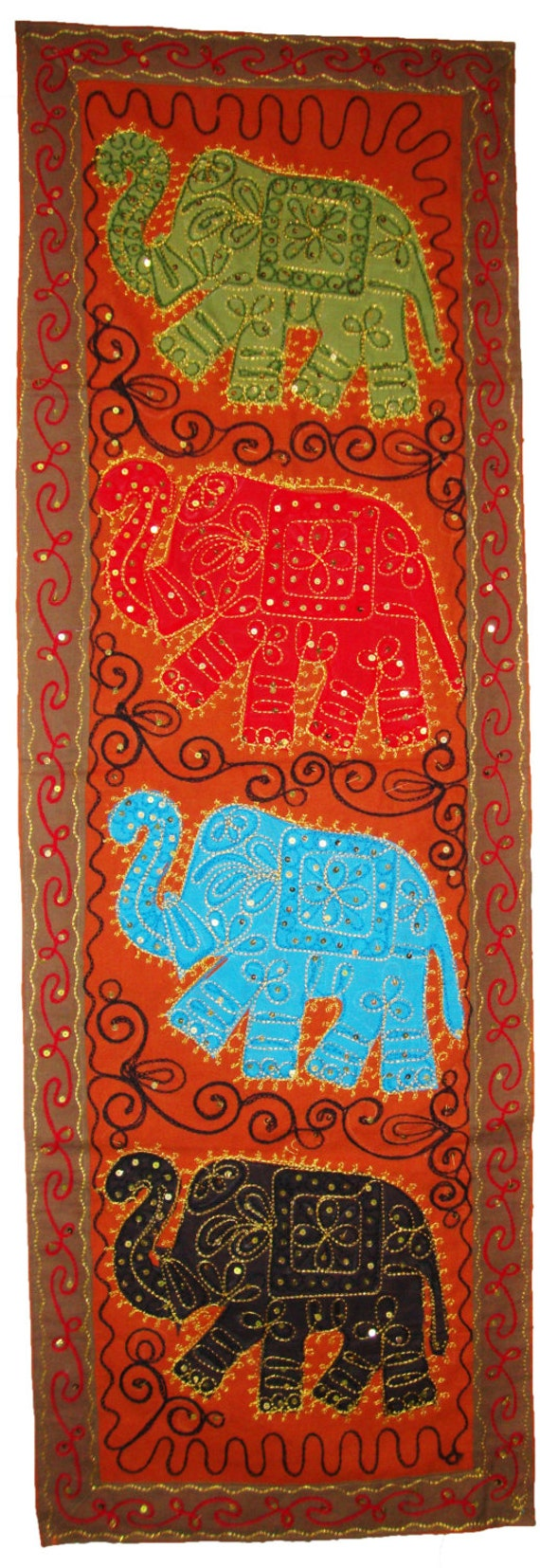 Indian Rust Brown Long Wall Decor Jaipuri Elephant By