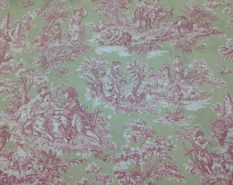 3 1/4 yards French Toile/Green toile cotton fabric/Toile home decor fabric/Nursery toile prints fabric/toile