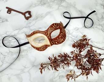Brown Venetian Masquerade Mask