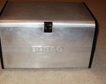 Vintage Metal Hinged BREAD Box, Vintage Kitchen, Bread Bin, Large Bread Box