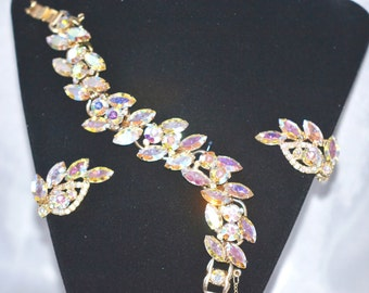 Vintage Juliana DeLizza Elster Aurora Borealis Bracelet Earrings Set