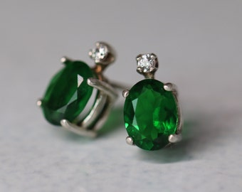 CLEARANCE Green Topaz Stud Earrings - Christmas Earring Studs - Emerald Green Posts with White Zircon - Genuine Gemstone Earrings