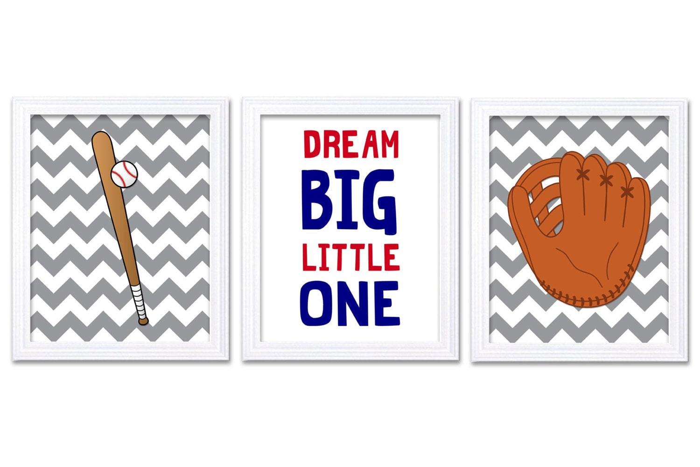Red Navy Blue Grey Baseball Nursery Art Child Kids Prints Art Baseball Bat Glove Dream Big Little On