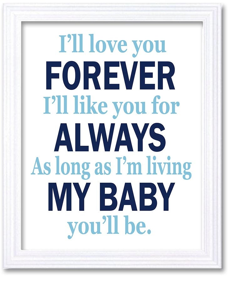 Navy Blue Boy Nursery Wall Art Prints Ill love your Forever Ill like you for Always As long as Im li