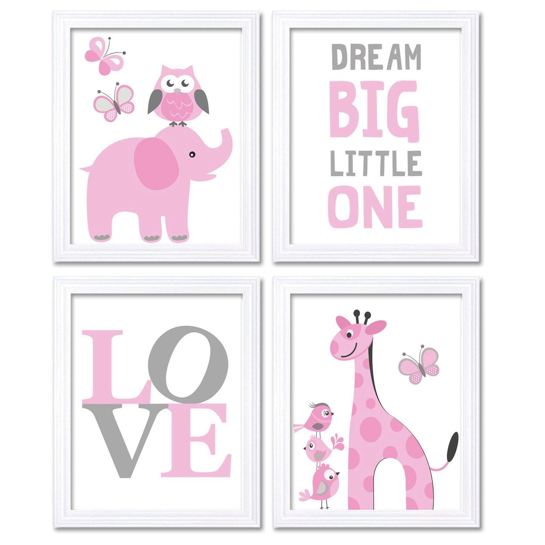Pink Grey Elephant Giraffe Owl Nursery Art Dream Big Little One LOVE Set of 4 Prints Child Art Kids