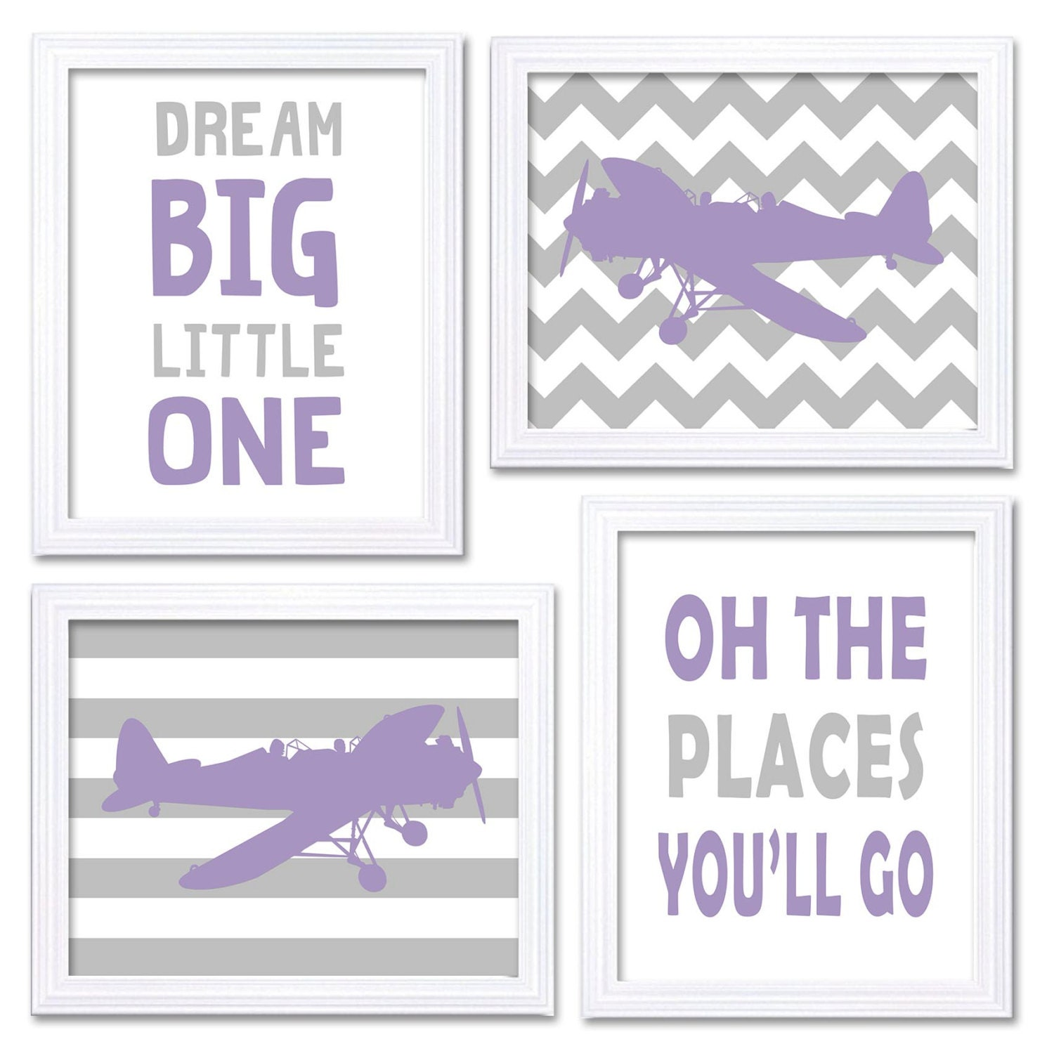 Airplane Nursery Art Purple Grey Nursery Print Set of 4 Transportation Dream Big Little One Oh The P