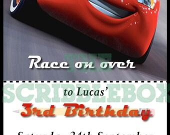 Cars Ticket birthday invitations