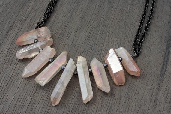 Rose Quartz, Hematite and Gunmetal Statement Necklace // Bridesmaid // Gifts for Her // Stocking Stuffer