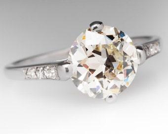 1920s Antique 2 Carat Old European Cut Diamond Engagement Ring Platinum WM10647