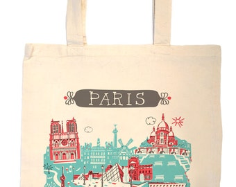 Paris Tote Bag-City Tote-Any City Tote-Turquoise-Red-France Tote-Gray-Personalized-Custom Wedding Tote