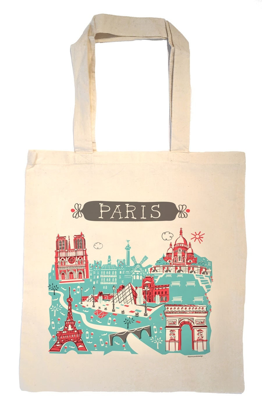 paris tote bag city tote any city tote turquoise red france. Black Bedroom Furniture Sets. Home Design Ideas