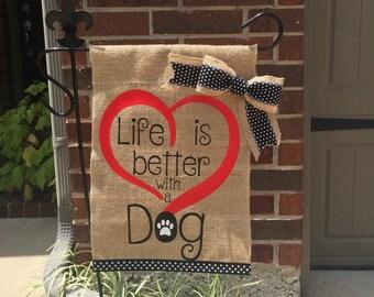 Dog Love Burlap Garden Flag
