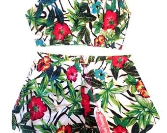 Jungle Leaf Print Bralet and Basic Shorts Set