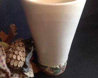 vintage ceramic pottery vase Napco matte glaze with acorn nut and leaf rustic woodland motif