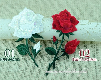 1 Piece White Red Yellow Pink Rose Flower Patch Trim Lace Appliques Embroidery Venise Lace Patch for Costume Design Iron on Applique