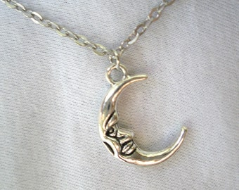 Moon Necklace/ Moon Man Necklace/ Moon Charm Necklace/ Crescent Moon Charm/ Man in the Moon charm/ Crescent Charm/Pick Charm/ Moon Signs