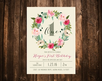 Bright Pink Floral Wreath Birthday Invitation; Garden, Bohemian; Printable or set of 10
