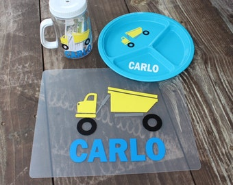 Personalized child's placemat plate and cup set PERFECT gift!
