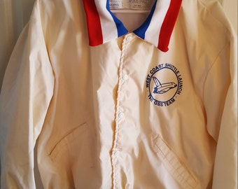 Vintage 1980's West Coast Space Shuttle Launch The GSS Team, DeLong Sportswear Nylon jacket, screened, polyester lining
