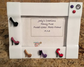 Picture Photo Frame Diva Heels Fused Glass 4 x 6
