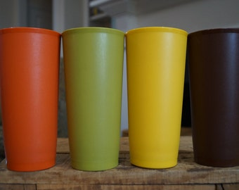 Set of 4 Vintage Tupperware 18 Oz. Tumblers Harvest Colors #1348