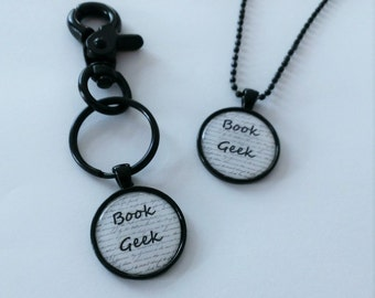 YOU PICK Book Geek Black and White Cameo Necklace or Clip