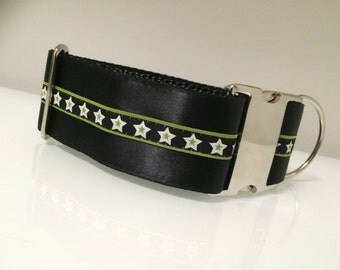 """Stars and Satin. 2"""" Wide Black Satin with Star Trim Martingale or Quick Release Dog Collar"""