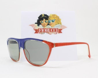 Fiorucci sunglasses, 80s glasses, designer eyewear, blue and red frame