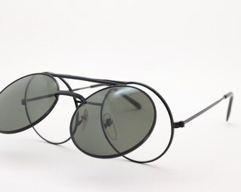 Linda Farrow sunglasses, flip-up glasses, black frame, black lens, designer eyewear