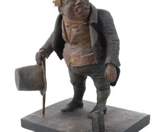 """1800 19th c. Paper Mache 10"""" Political Caricature sculpture of a Grumpy Man-Rare"""