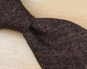 Brown Weave Mens Neck Tie - Structure Vintage Wool Necktie