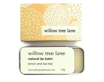 Lemon and Tea Tree Natural Lip Balm, Vegan lip salve infused with essential oils, sliding tin