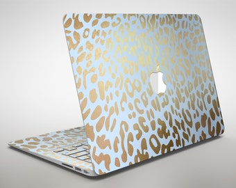 Gold Flaked Animal Light Blue 2 - Apple MacBook Air or Pro Skin Decal Kit (All Versions Available)