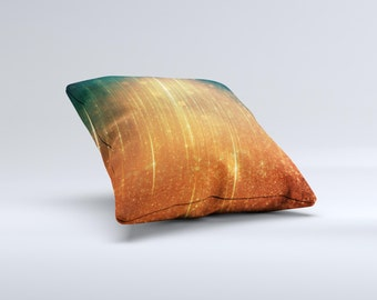 The Orange Scratched Surface with Gold Beams ink-Fuzed Decorative Throw Pillow