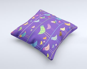 The Abstract Pattern-Filled Birds ink-Fuzed Decorative Throw Pillow