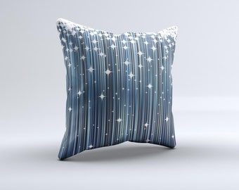 The Dark Blue & White Shimmer Strips  ink-Fuzed Decorative Throw Pillow