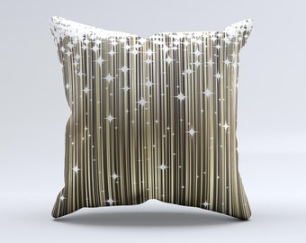 The Gold & White Shimmer Strips ink-Fuzed Decorative Throw Pillow