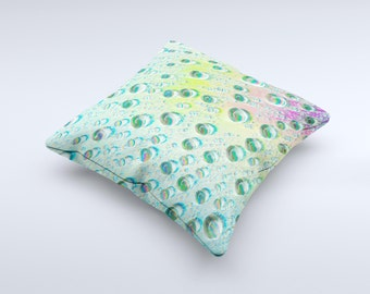 The RainBow WaterDrops ink-Fuzed Decorative Throw Pillow