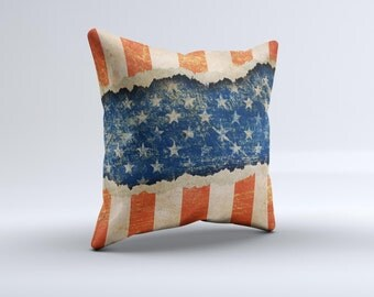 The Scratched Surface Peeled American Flag ink-Fuzed Decorative Throw Pillow
