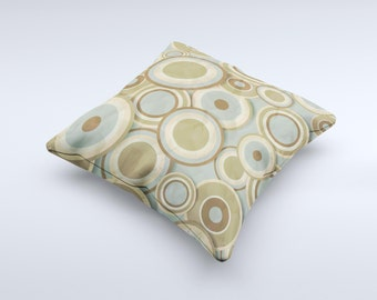 Blue and Green Overlapping Circles ink-Fuzed Decorative Throw Pillow