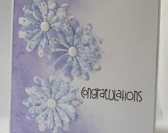 Purple daisy and flourish congratulations card